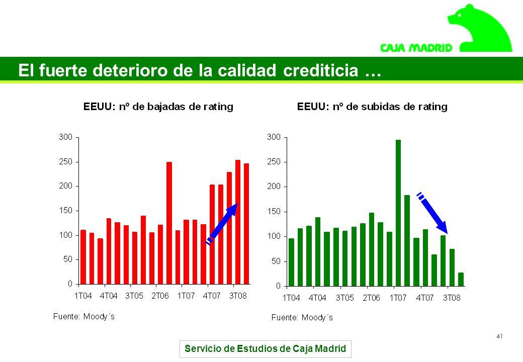 Servicio de Estudios de Caja Madrid 41 El fuerte deterioro de la calidad crediticia …