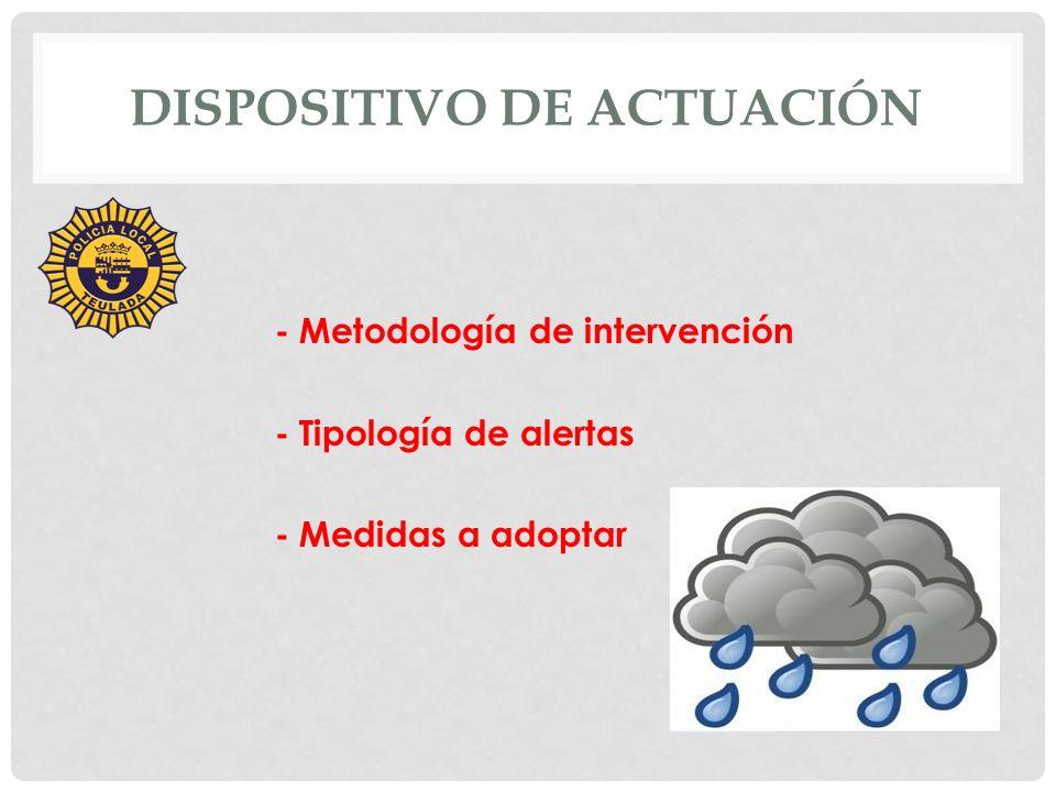 DISPOSITIVO DE ACTUACIÓN - Metodología de intervención: 1.- Recepción de alertas 2.- Flujos de transmisión de alertas 3.- Adopción de medidas