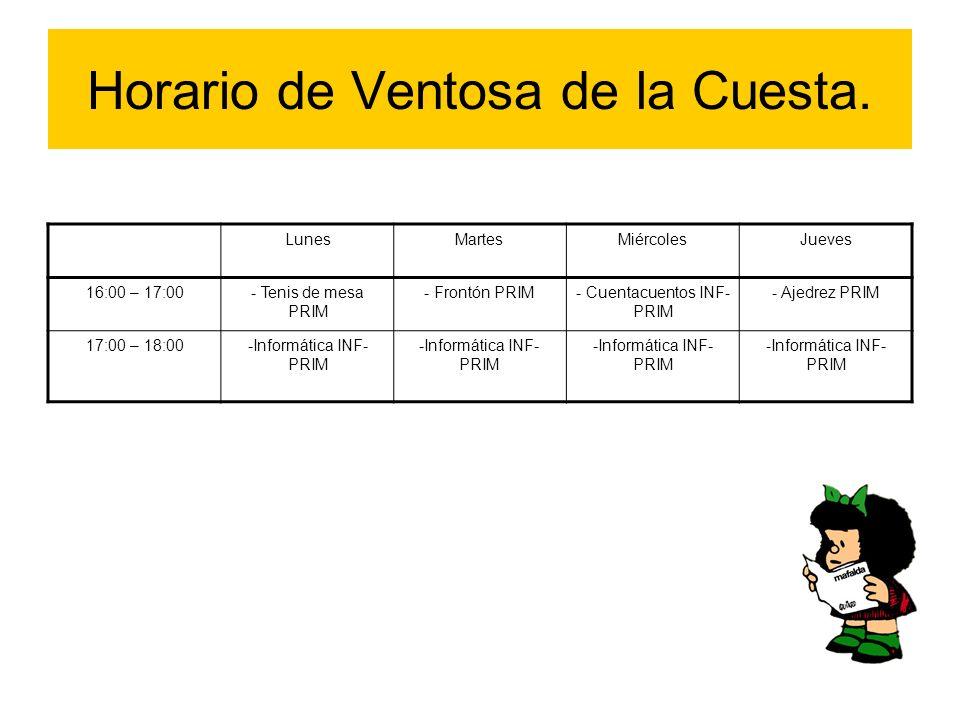 Horario de Ventosa de la Cuesta. LunesMartesMiércolesJueves 16:00 – 17:00- Tenis de mesa PRIM - Frontón PRIM- Cuentacuentos INF- PRIM - Ajedrez PRIM 1