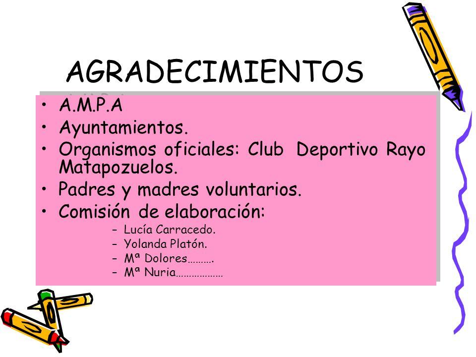 AGRADECIMIENTOS A.M.P.A Ayuntamientos. Organismos oficiales: Club Deportivo Rayo Matapozuelos. Padres y madres voluntarios. Comisión de elaboración: –