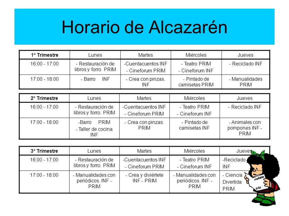 Horario de Alcazarén 1º TrimestreLunesMartesMiércolesJueves 16:00 - 17:00- Restauración de libros y forro. PRIM -Cuentacuentos INF - Cineforum PRIM -