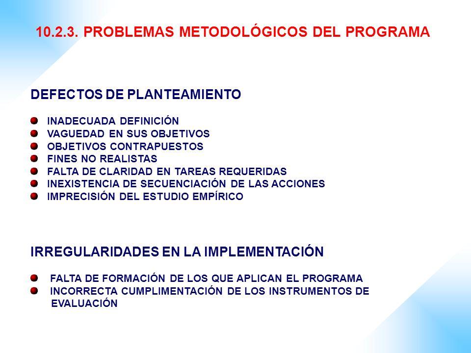 10.2.3. PROBLEMAS METODOLÓGICOS DEL PROGRAMA DEFECTOS DE PLANTEAMIENTO INADECUADA DEFINICIÓN VAGUEDAD EN SUS OBJETIVOS OBJETIVOS CONTRAPUESTOS FINES N