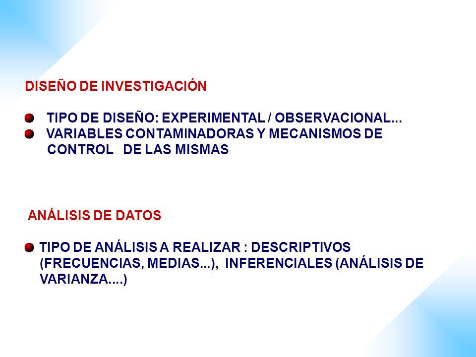 DISEÑO DE INVESTIGACIÓN TIPO DE DISEÑO: EXPERIMENTAL / OBSERVACIONAL... VARIABLES CONTAMINADORAS Y MECANISMOS DE CONTROL DE LAS MISMAS ANÁLISIS DE DAT