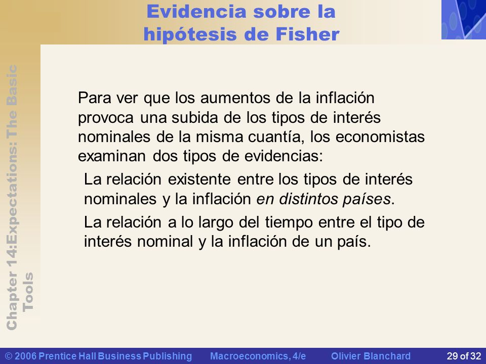 Chapter 14:Expectations: The Basic Tools © 2006 Prentice Hall Business Publishing Macroeconomics, 4/e Olivier Blanchard29 of 32 Evidencia sobre la hip