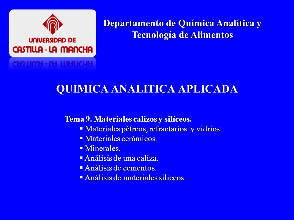 Tema 9. Materiales calizos y silíceos. Materiales pétreos, refractarios y vidrios. Materiales pétreos, refractarios y vidrios. Materiales cerámicos. M