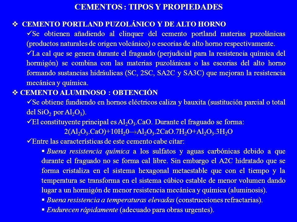 CEMENTO PORTLAND PUZOLÁNICO Y DE ALTO HORNO CEMENTO PORTLAND PUZOLÁNICO Y DE ALTO HORNO Se obtienen añadiendo al clinquer del cemento portland materia