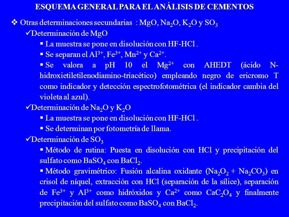 Otras determinaciones secundarias : MgO, Na 2 O, K 2 O y SO 3 Otras determinaciones secundarias : MgO, Na 2 O, K 2 O y SO 3 Determinación de MgO Deter