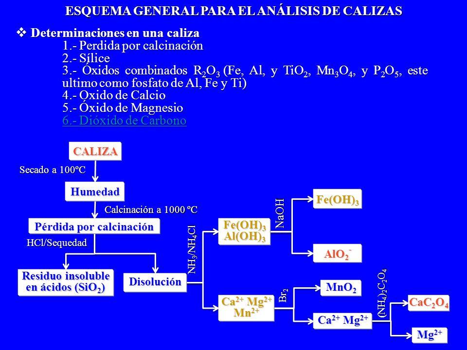 NaOH Br 2 (NH 4 ) 2 C 2 O 4 Secado a 100ºC HCl/Sequedad NH 3 /NH 4 Cl Pérdida por calcinación CALIZA Humedad Residuo insoluble Residuo insoluble en ác