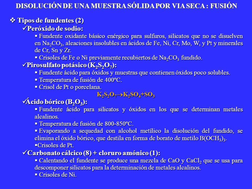Tipos de fundentes (2) Tipos de fundentes (2) Peróxido de sodio: Peróxido de sodio: Fundente oxidante básico enérgico para sulfuros, silicatos que no