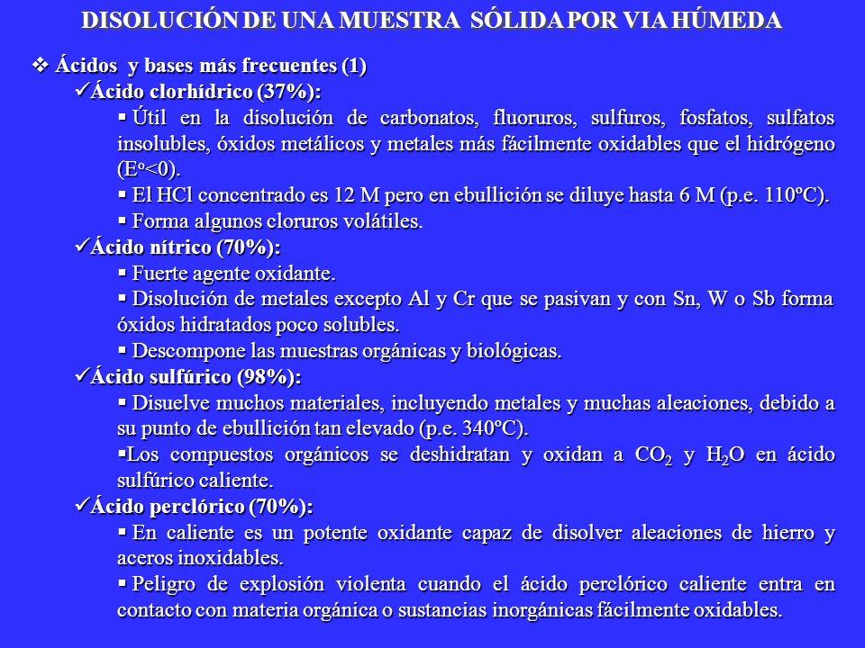 Ácidos y bases más frecuentes (1) Ácidos y bases más frecuentes (1) Ácido clorhídrico (37%): Ácido clorhídrico (37%): Útil en la disolución de carbona