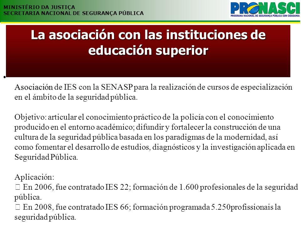 MINISTÉRIO DA JUSTIÇA SECRETARIA NACIONAL DE SEGURANÇA PÚBLICA Asociación Asociación de IES con la SENASP para la realización de cursos de especializa