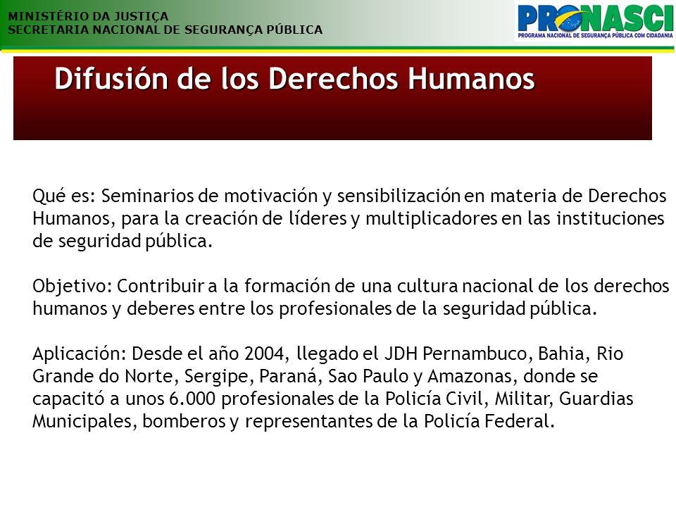 MINISTÉRIO DA JUSTIÇA SECRETARIA NACIONAL DE SEGURANÇA PÚBLICA Qué es: Seminarios de motivación y sensibilización en materia de Derechos Humanos, para la creación de líderes y multiplicadores en las instituciones de seguridad pública.