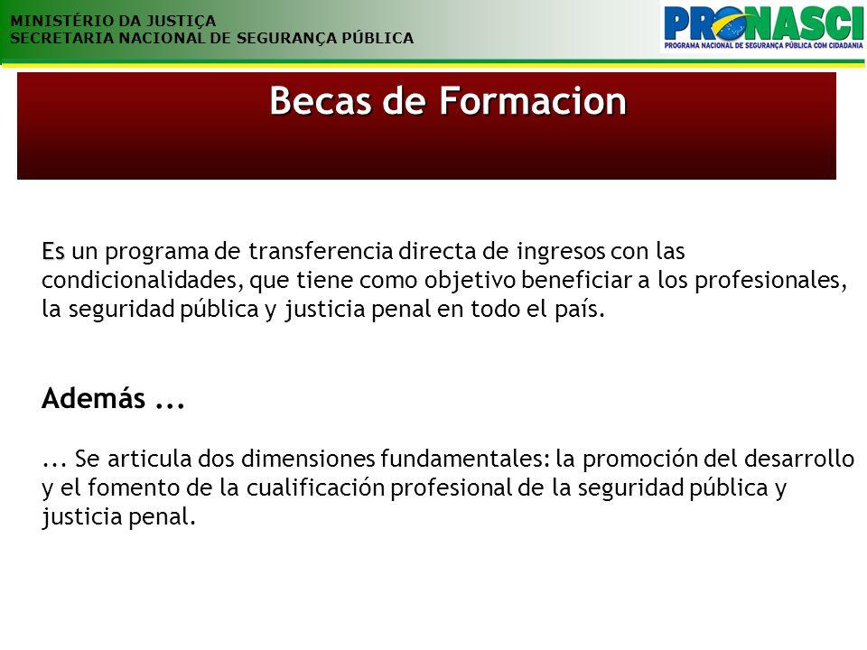 MINISTÉRIO DA JUSTIÇA SECRETARIA NACIONAL DE SEGURANÇA PÚBLICA Es Es un programa de transferencia directa de ingresos con las condicionalidades, que t