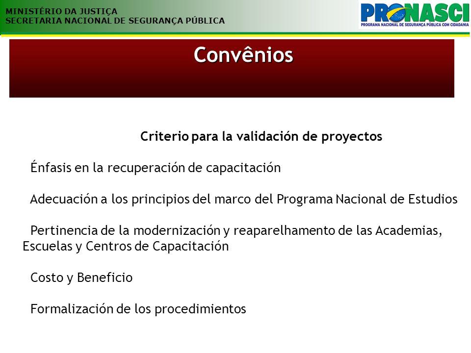 MINISTÉRIO DA JUSTIÇA SECRETARIA NACIONAL DE SEGURANÇA PÚBLICA Criterio para la validación de proyectos Énfasis en la recuperación de capacitación Ade