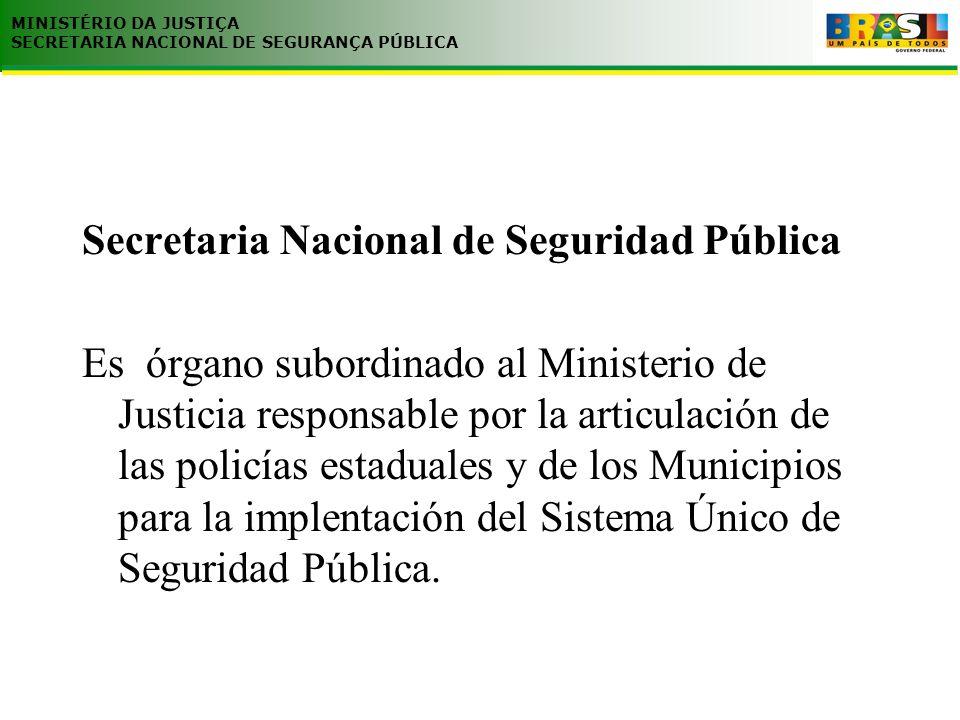 Secretaria Nacional de Seguridad Pública Es órgano subordinado al Ministerio de Justicia responsable por la articulación de las policías estaduales y de los Municipios para la implentación del Sistema Único de Seguridad Pública.