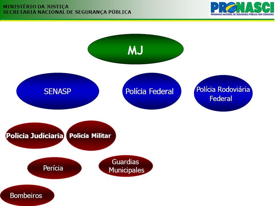 MJ MINISTÉRIO DA JUSTIÇA SECRETARIA NACIONAL DE SEGURANÇA PÚBLICA Policia Judiciaria SENASP Polícia Rodoviária Federal Policía Militar Bombeiros Perícia Guardias Municipales Polícia Federal