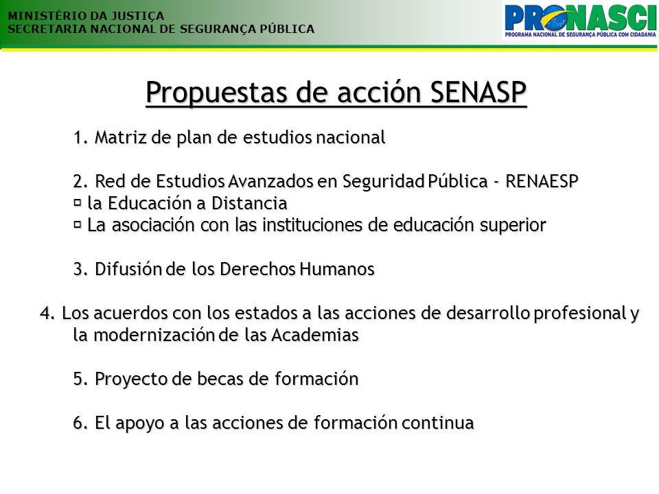Propuestas de acción SENASP 1. Matriz de plan de estudios nacional 2. Red de Estudios Avanzados en Seguridad Pública - RENAESP la Educación a Distanci