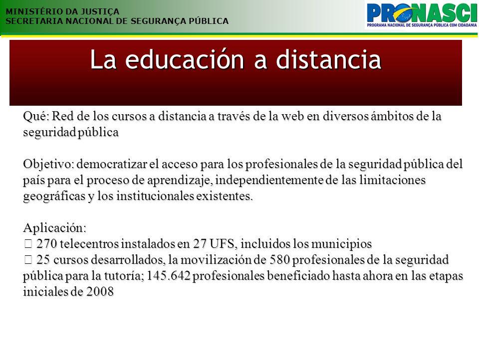 MINISTÉRIO DA JUSTIÇA SECRETARIA NACIONAL DE SEGURANÇA PÚBLICA Qué: Red de los cursos a distancia a través de la web en diversos ámbitos de la segurid