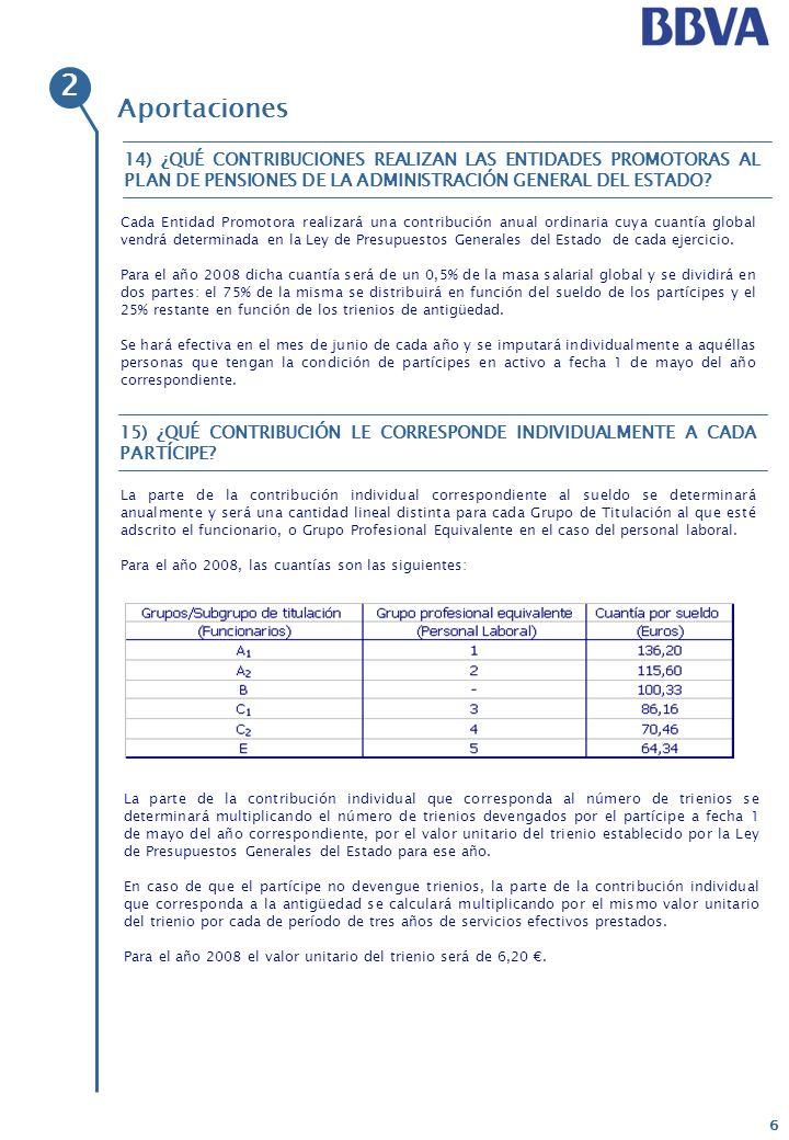 7 Aportaciones No, la única obligación de realizar contribuciones al Plan de Pensiones la tiene el promotor.