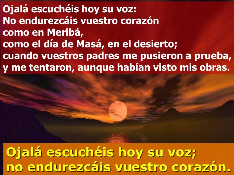 Entrad, postrémonos por tierra, bendiciendo al Señor, creador nuestro. Porque él es nuestro Dios, y nosotros su pueblo, el rebaño que él guía Ojalá es