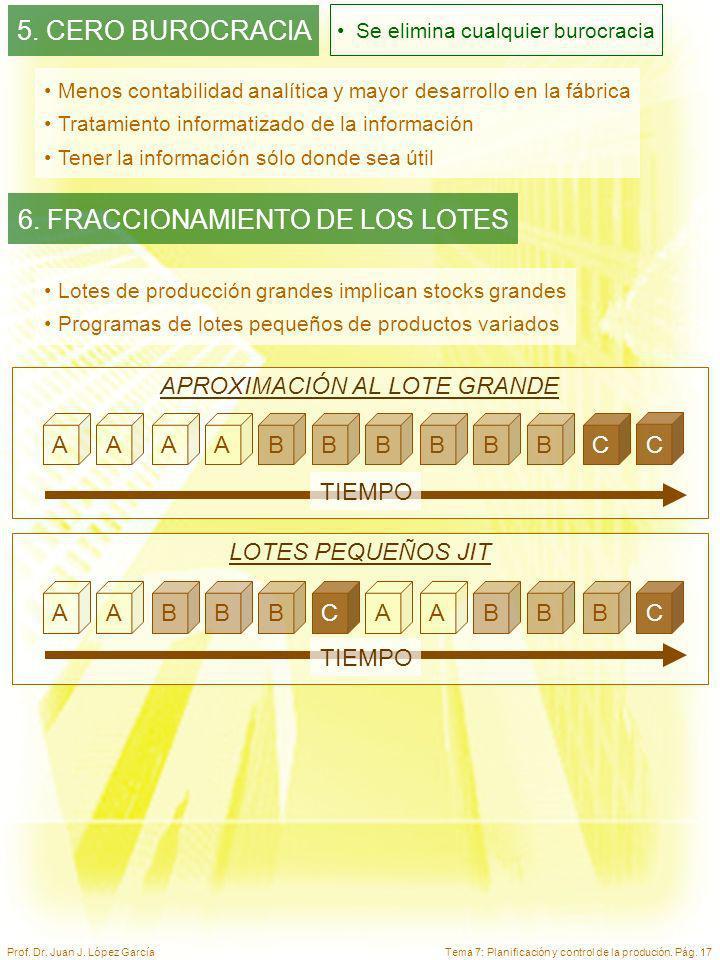 Tema 7: Planificación y control de la produción. Pág. 17Prof. Dr. Juan J. López García Menos contabilidad analítica y mayor desarrollo en la fábrica T