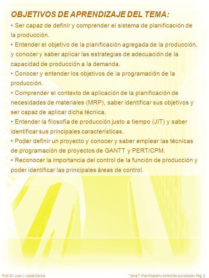 Tema 7: Planificación y control de la produción. Pág. 2Prof. Dr. Juan J. López García OBJETIVOS DE APRENDIZAJE DEL TEMA: Ser capaz de definir y compre