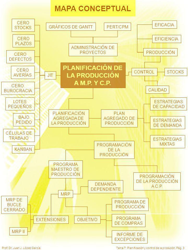 Tema 7: Planificación y control de la produción. Pág. 3Prof. Dr. Juan J. López García MAPA CONCEPTUAL PLANIFICACIÓN AGREGADA DE LA PRODUCCIÓN PROGRAMA