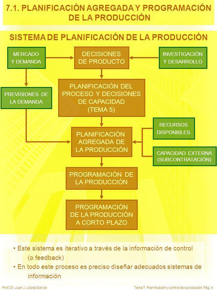 Tema 7: Planificación y control de la produción. Pág. 4Prof. Dr. Juan J. López García SISTEMA DE PLANIFICACIÓN DE LA PRODUCCIÓN MERCADO Y DEMANDA INVE
