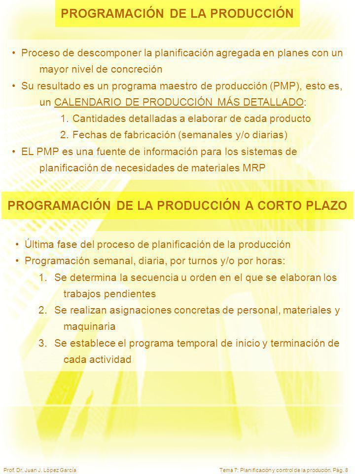 Tema 7: Planificación y control de la produción. Pág. 8Prof. Dr. Juan J. López García PROGRAMACIÓN DE LA PRODUCCIÓN Proceso de descomponer la planific