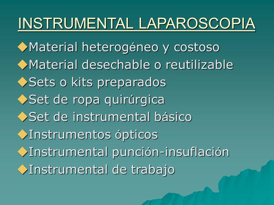 INSTRUMENTAL LAPAROSCOPIA Material heterog é neo y costoso Material heterog é neo y costoso Material desechable o reutilizable Material desechable o r
