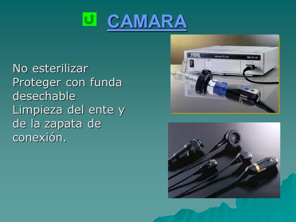 CAMARA No esterilizar Proteger con funda desechable Limpieza del ente y de la zapata de conexión.