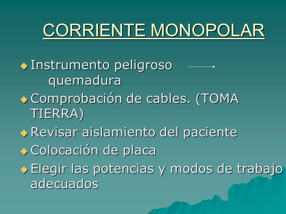 CORRIENTE MONOPOLAR Instrumento peligroso quemadura Instrumento peligroso quemadura Comprobación de cables. (TOMA TIERRA) Comprobación de cables. (TOM