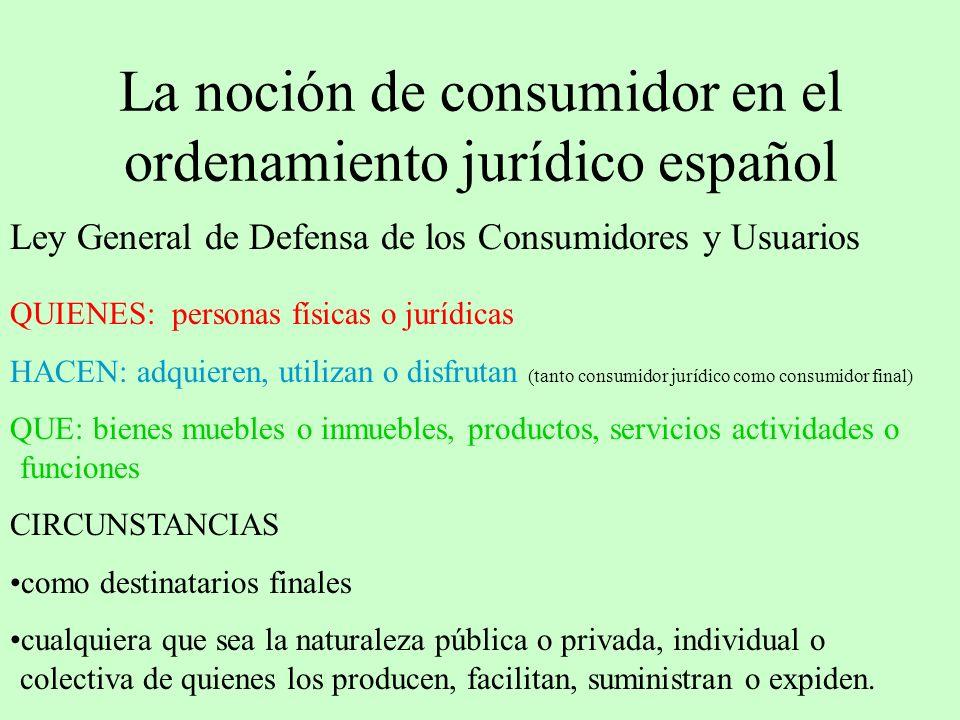 La noción de consumidor en el ordenamiento jurídico español Ley General de Defensa de los Consumidores y Usuarios QUIENES: personas físicas o jurídica