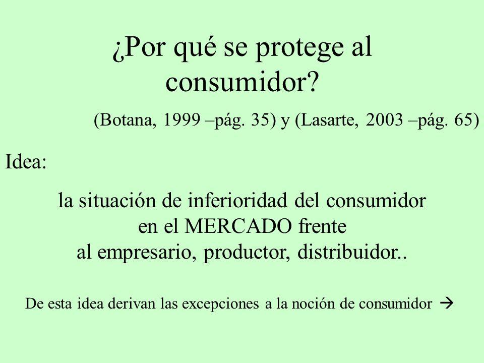 ¿Por qué se protege al consumidor? (Botana, 1999 –pág. 35) y (Lasarte, 2003 –pág. 65) Idea: la situación de inferioridad del consumidor en el MERCADO
