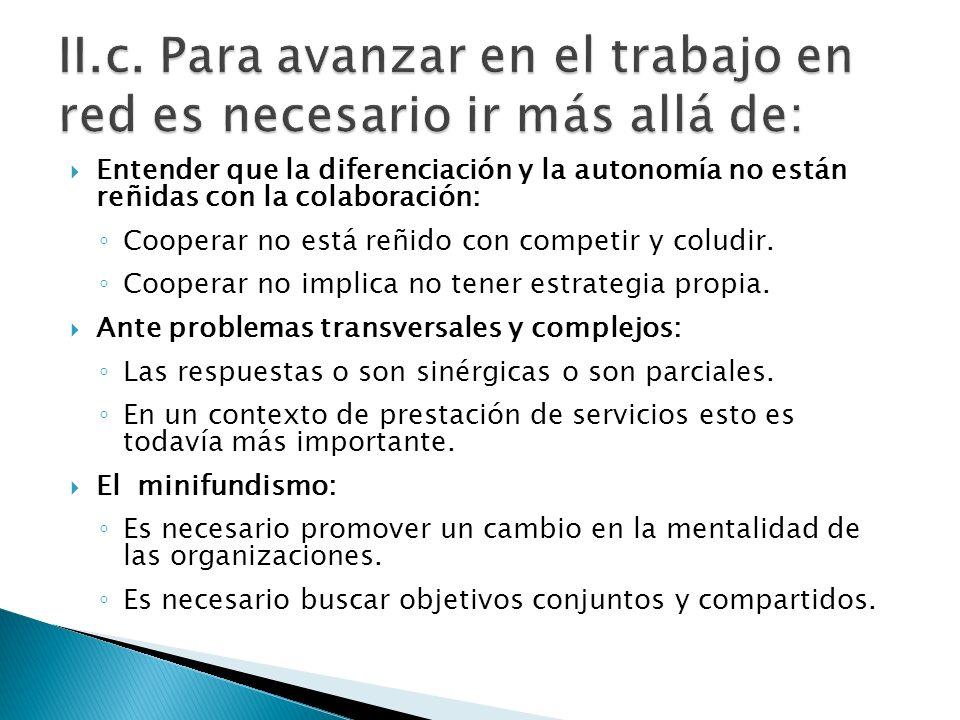Entender que la diferenciación y la autonomía no están reñidas con la colaboración: Cooperar no está reñido con competir y coludir.