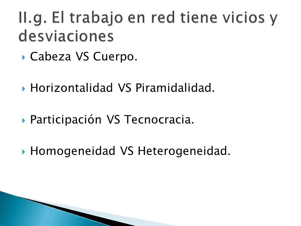 Cabeza VS Cuerpo. Horizontalidad VS Piramidalidad. Participación VS Tecnocracia. Homogeneidad VS Heterogeneidad.