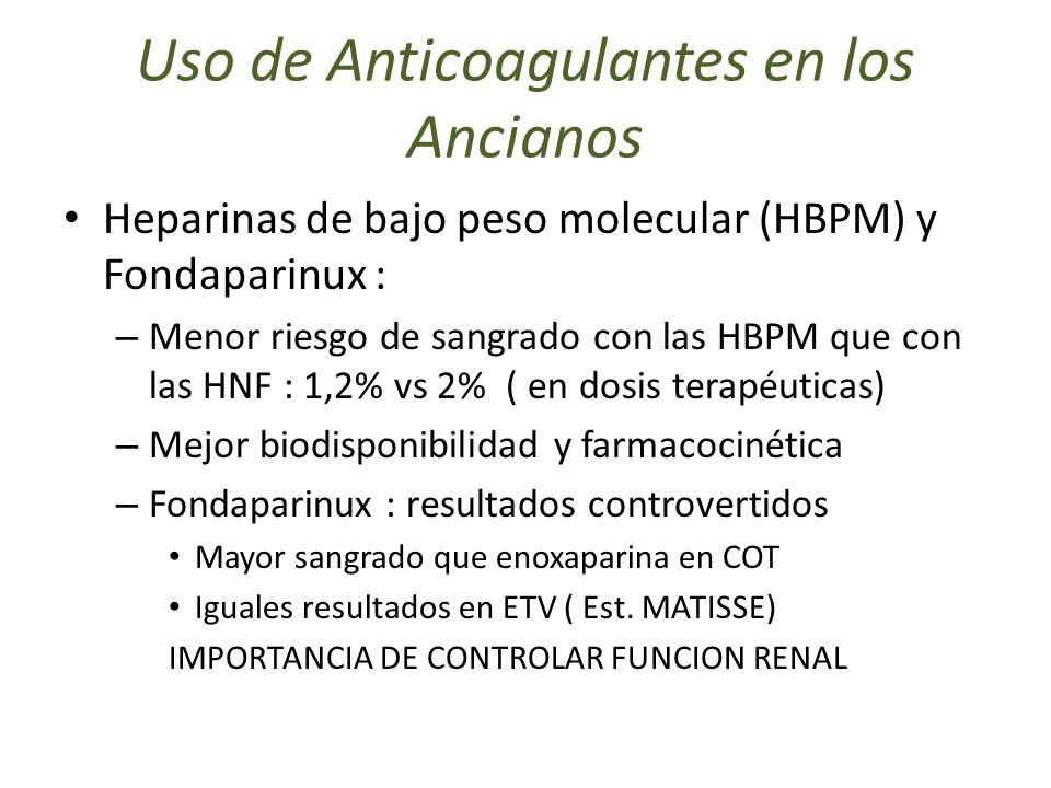 Uso de Anticoagulantes en los Ancianos Heparinas de bajo peso molecular (HBPM) y Fondaparinux : – Menor riesgo de sangrado con las HBPM que con las HN