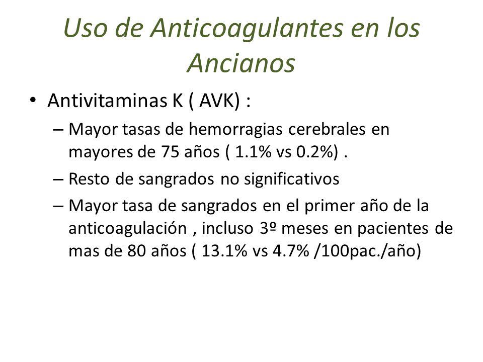 Uso de Anticoagulantes en los Ancianos Antivitaminas K ( AVK) : – Mayor tasas de hemorragias cerebrales en mayores de 75 años ( 1.1% vs 0.2%). – Resto