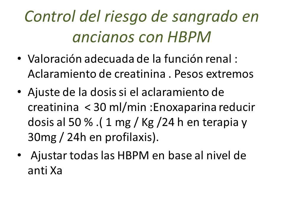 Control del riesgo de sangrado en ancianos con HBPM Valoración adecuada de la función renal : Aclaramiento de creatinina. Pesos extremos Ajuste de la