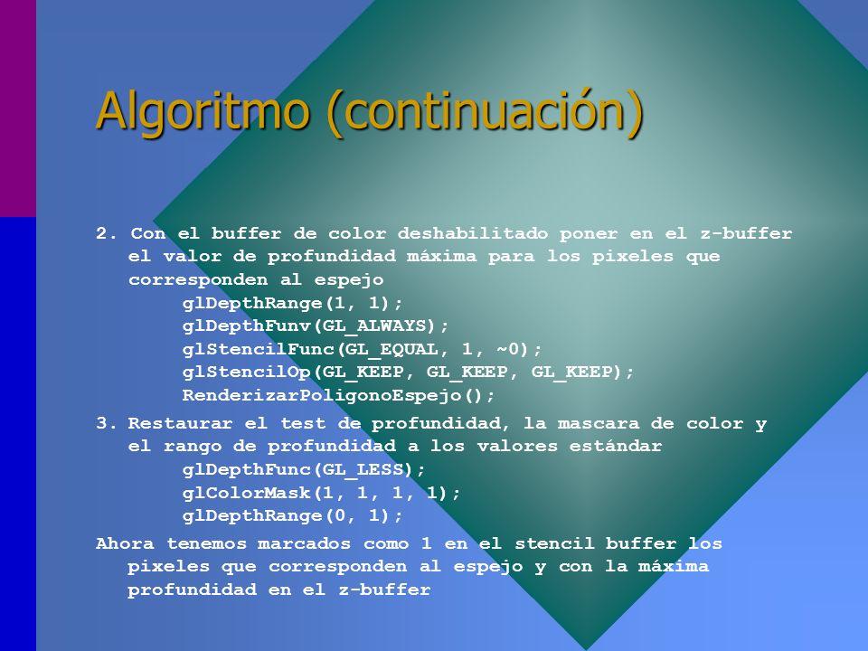 Algoritmo (continuación) 2. Con el buffer de color deshabilitado poner en el z-buffer el valor de profundidad máxima para los pixeles que corresponden