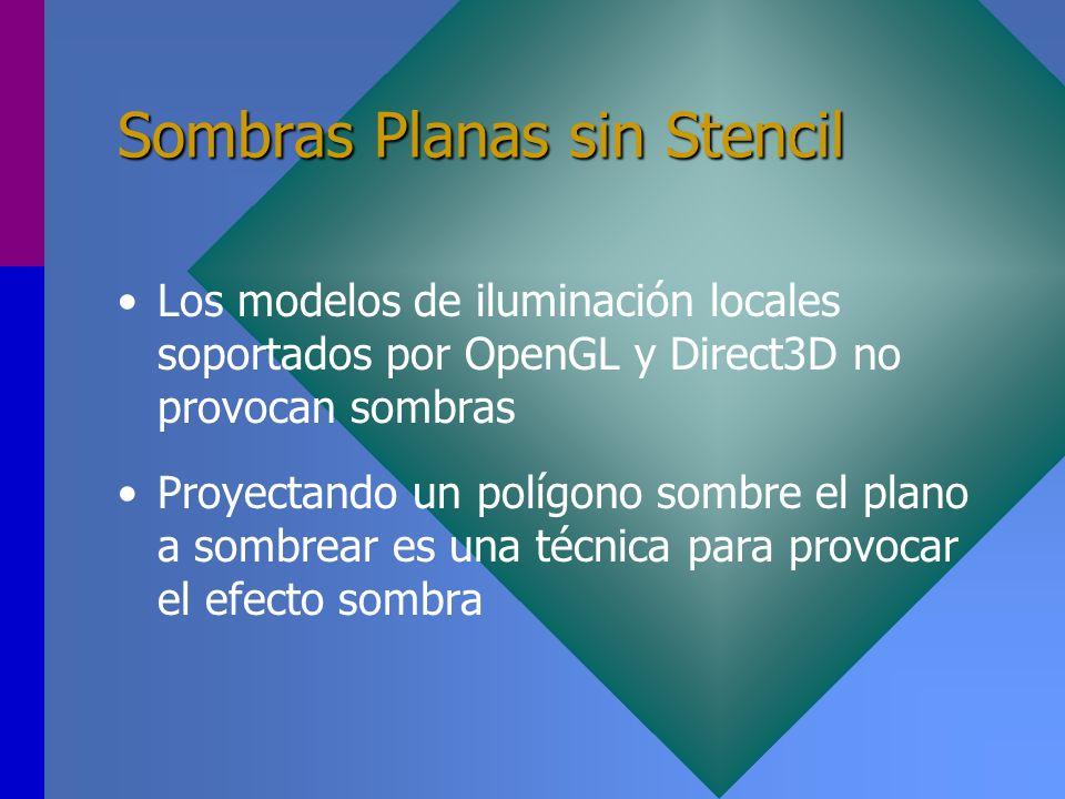 Sombras Planas sin Stencil Los modelos de iluminación locales soportados por OpenGL y Direct3D no provocan sombras Proyectando un polígono sombre el p