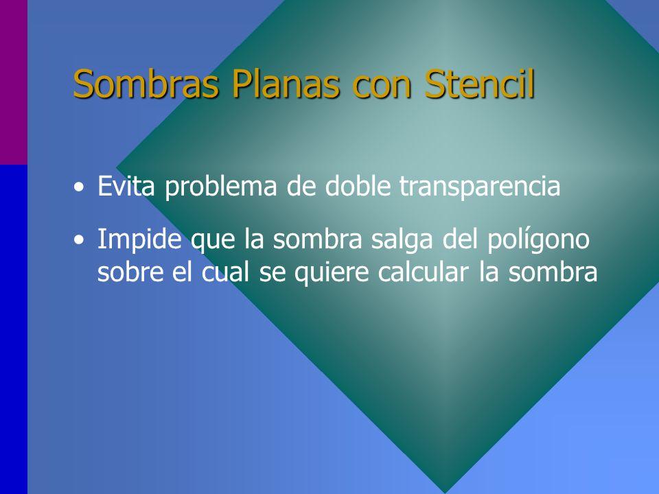 Sombras Planas con Stencil Evita problema de doble transparencia Impide que la sombra salga del polígono sobre el cual se quiere calcular la sombra