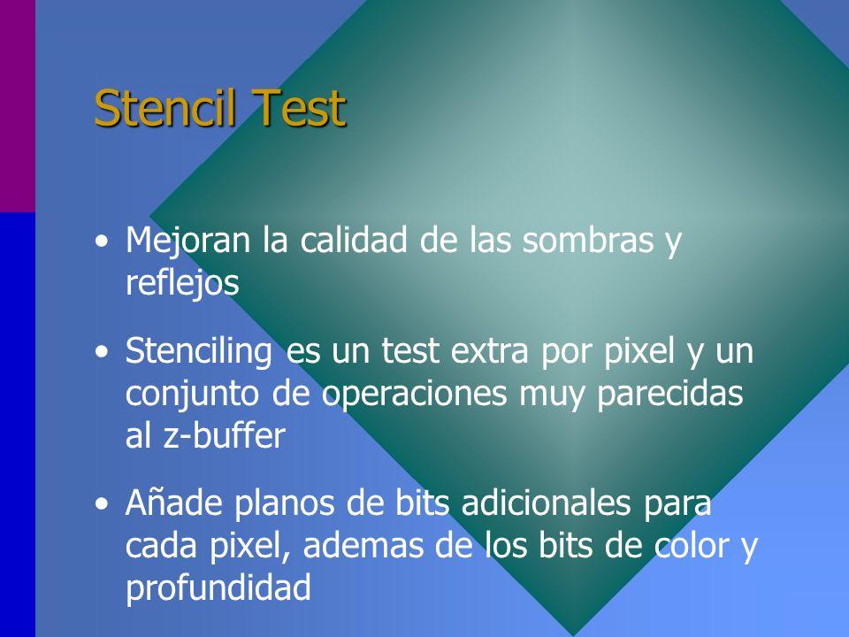 Stencil Test Mejoran la calidad de las sombras y reflejos Stenciling es un test extra por pixel y un conjunto de operaciones muy parecidas al z-buffer