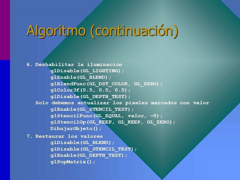 Algoritmo (continuación) 6.Deshabilitar la iluminación glDisable(GL_LIGHTING); glEnable(GL_BLEND); glBlendFunc(GL_DST_COLOR, GL_ZERO); glColor3f(0.5,