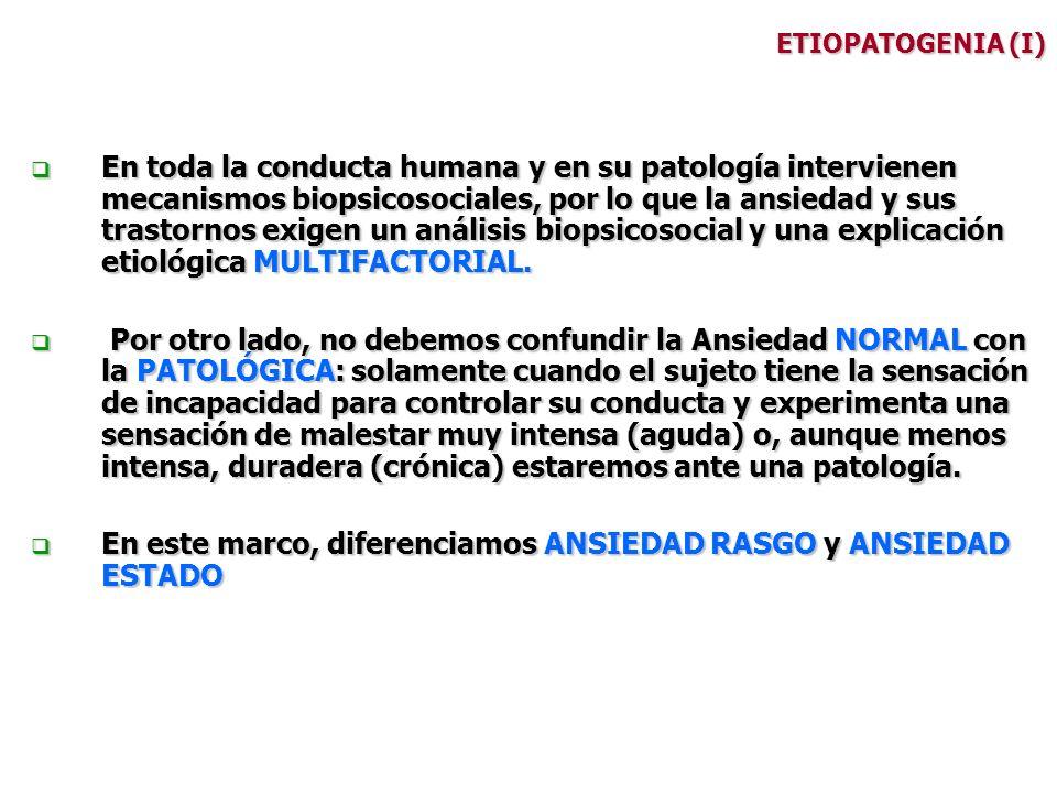 ETIOPATOGENIA (I) En toda la conducta humana y en su patología intervienen mecanismos biopsicosociales, por lo que la ansiedad y sus trastornos exigen