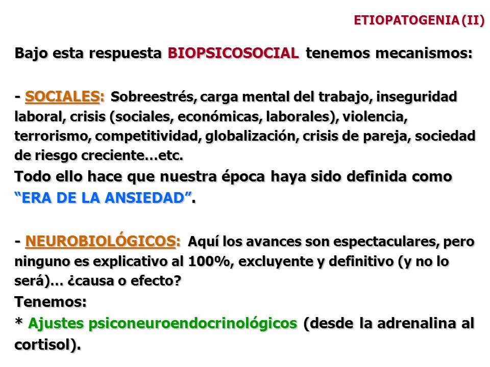 ETIOPATOGENIA (II) Bajo esta respuesta BIOPSICOSOCIAL tenemos mecanismos: - SOCIALES: Sobreestrés, carga mental del trabajo, inseguridad laboral, cris