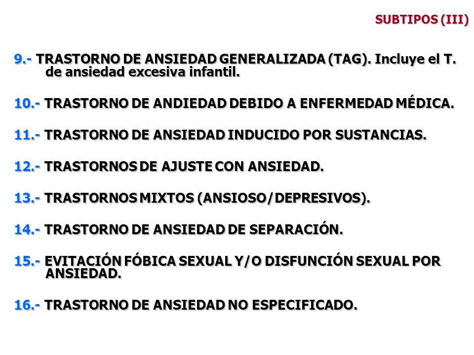 SUBTIPOS (III) 9.- TRASTORNO DE ANSIEDAD GENERALIZADA (TAG). Incluye el T. de ansiedad excesiva infantil. 10.- TRASTORNO DE ANDIEDAD DEBIDO A ENFERMED