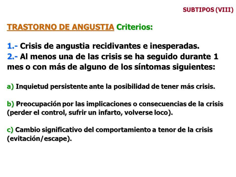SUBTIPOS (VIII) TRASTORNO DE ANGUSTIA Criterios: 1.- Crisis de angustia recidivantes e inesperadas. 2.- Al menos una de las crisis se ha seguido duran
