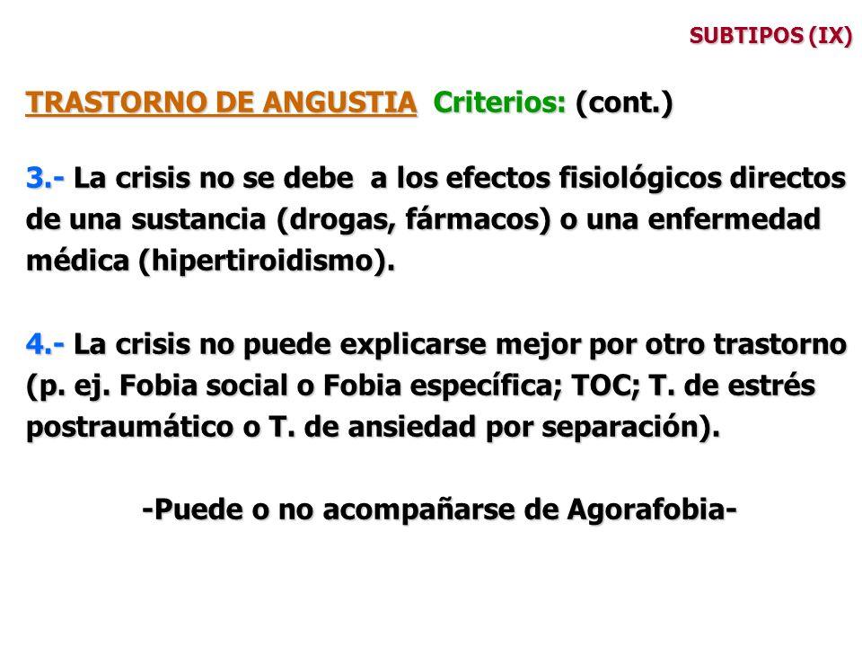 SUBTIPOS (IX) TRASTORNO DE ANGUSTIA Criterios: (cont.) 3.- La crisis no se debe a los efectos fisiológicos directos de una sustancia (drogas, fármacos