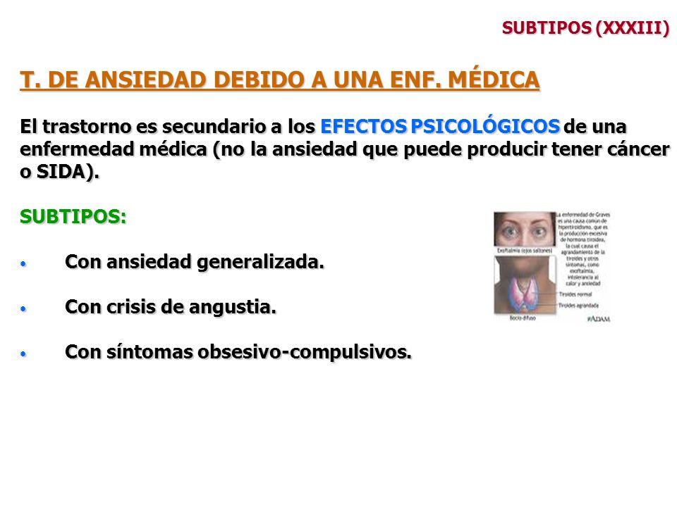SUBTIPOS (XXXIII) T. DE ANSIEDAD DEBIDO A UNA ENF. MÉDICA El trastorno es secundario a los EFECTOS PSICOLÓGICOS de una enfermedad médica (no la ansied